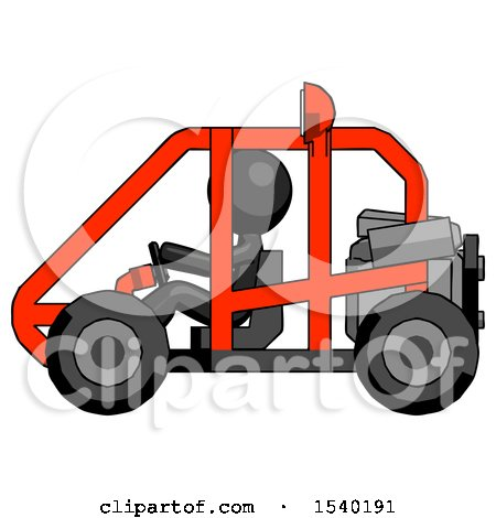 Black Design Mascot Man Riding Sports Buggy Side View by Leo Blanchette