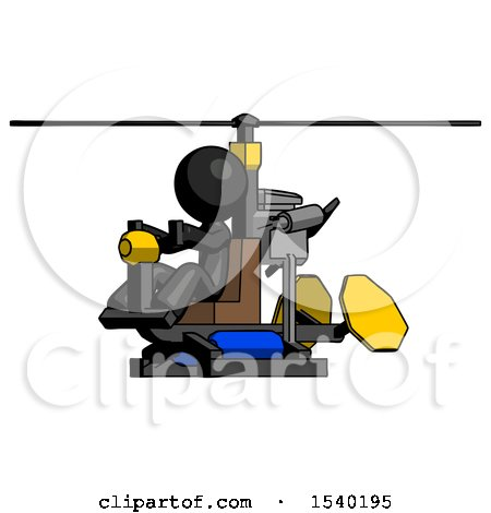 Black Design Mascot Man Flying in Gyrocopter Front Side Angle View by Leo Blanchette