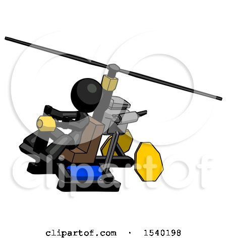 Black Design Mascot Woman Flying in Gyrocopter Front Side Angle Top View by Leo Blanchette