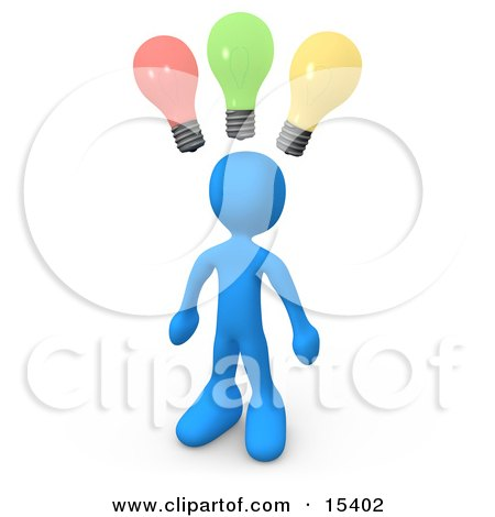 Smart And Creative Blue Man With Different Colored Lightbulbs Symbolizing Ideas Above His Head  Posters, Art Prints