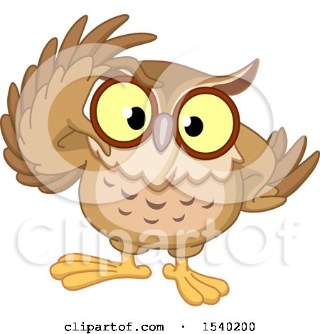 Clipart of a Wise Owl Adjusting His Glasses - Royalty Free Vector Illustration by yayayoyo