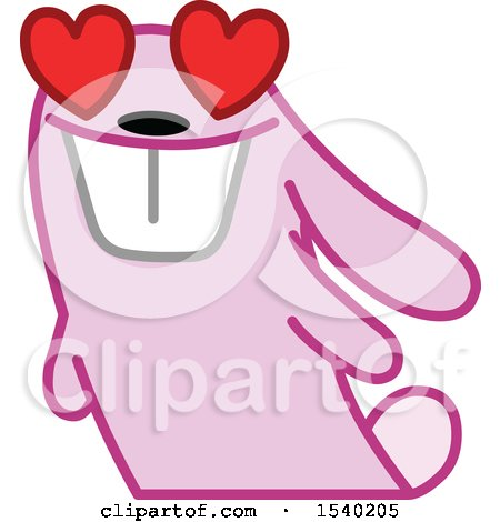Clipart of a Pink Bunny Rabbit in Love - Royalty Free Vector Illustration by yayayoyo