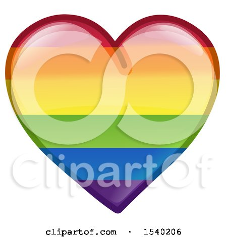 Clipart of a Rainbow Flag LGBTQ Pride Love Heart - Royalty Free Vector Illustration by yayayoyo
