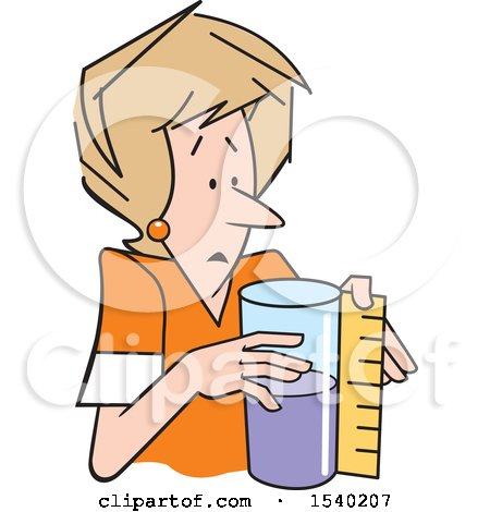 Clipart of a White Woman Measuring a Container That Is Half Full or Half Empty - Royalty Free Vector Illustration by Johnny Sajem