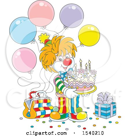 Clipart of a Cute Clown Holding a Birthday Cake at a Party - Royalty Free Vector Illustration by Alex Bannykh