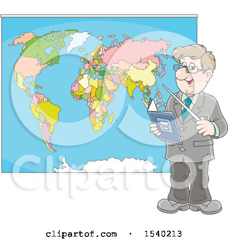 Clipart of a Caucasian Male Geography Teacher Pointing to a Map - Royalty Free Vector Illustration by Alex Bannykh