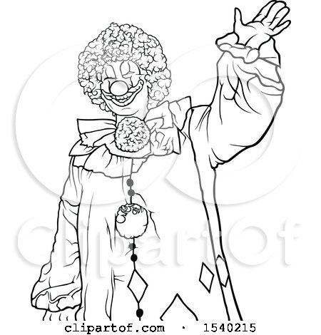 Clipart of a Black and White Clown - Royalty Free Vector Illustration by dero