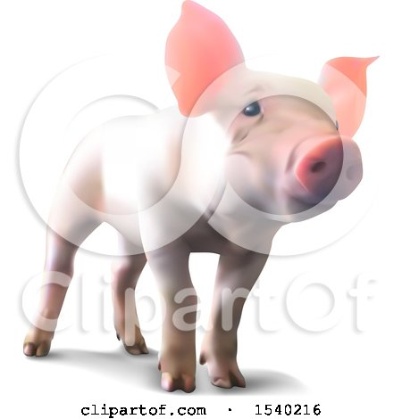 Clipart of a 3d Piglet on a White Background - Royalty Free Vector Illustration by dero