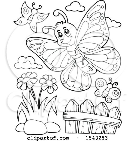 Clipart of Black and White Butterflies - Royalty Free Vector Illustration by visekart