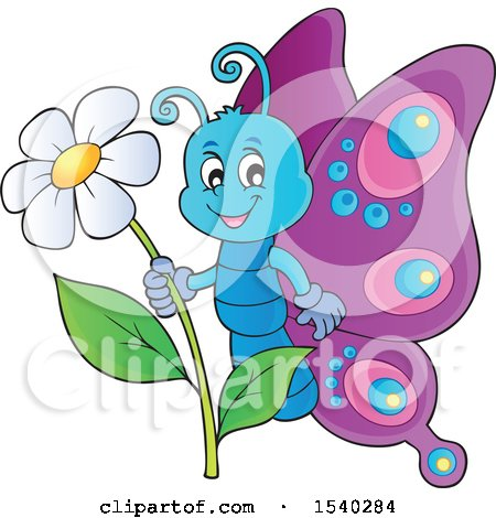 Clipart of a Butterfly Holding a Flower - Royalty Free Vector Illustration by visekart