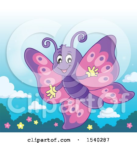 Clipart of a Butterfly - Royalty Free Vector Illustration by visekart