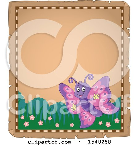 Clipart of a Parchment Border with a Butterfly - Royalty Free Vector Illustration by visekart