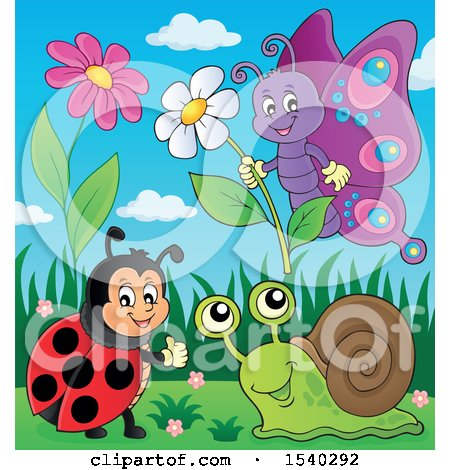Clipart of a Ladybug, Butterfly and Snail on a Spring Day - Royalty Free Vector Illustration by visekart