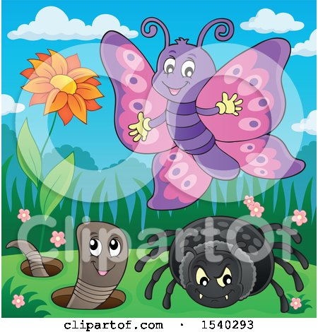 Clipart of a Butterfly, Spider and Worm - Royalty Free Vector Illustration by visekart