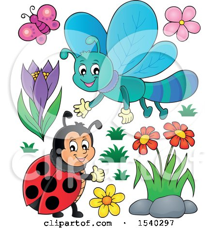 Clipart of a Butterfly, Dragonfly, Flowers and Ladybug - Royalty Free Vector Illustration by visekart