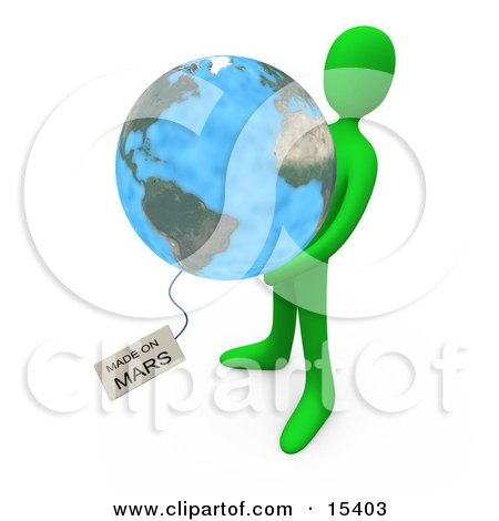 Green Person Holding The Planet Earth With A Tag Reading Made On Mars Clipart Illustration Image by 3poD