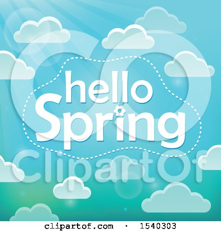 Clipart of a Hellow Spring Greeting in a Sky with Clouds - Royalty Free Vector Illustration by visekart