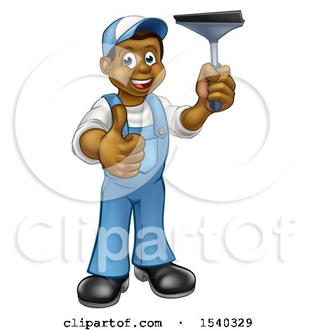 Clipart of a Full Length Black Male Window Cleaner in Blue, Giving a Thumb up and Holding a Squeegee - Royalty Free Vector Illustration by AtStockIllustration