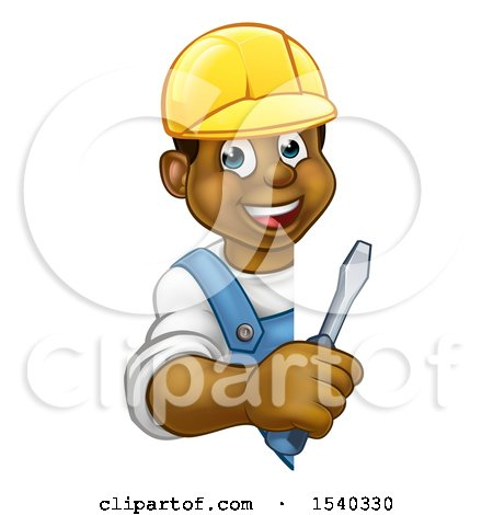 Clipart of a Cartoon Happy Black Male Electrician Holding a Screwdriver Around a Sign - Royalty Free Vector Illustration by AtStockIllustration