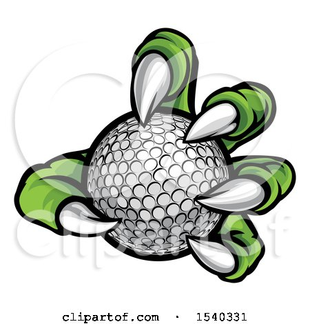 Clipart of a Green Monster Claw Holding a Golf Ball - Royalty Free Vector Illustration by AtStockIllustration