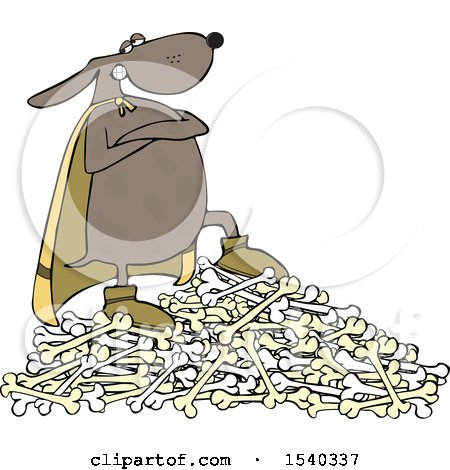 Clipart of a Super Hero Dog Standing on a Pile of Bones - Royalty Free Vector Illustration by djart