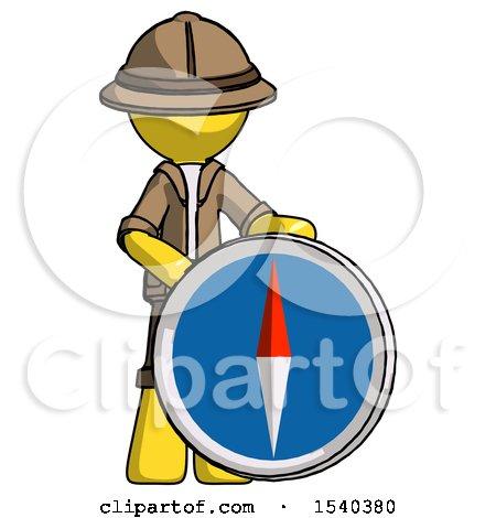 Yellow Explorer Ranger Man Standing Beside Large Compass by Leo Blanchette