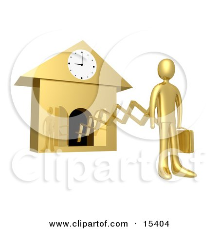 Gold Businesman In A Suit, Holding A Briefcase And Sticking Out From An Arm Of A Cuckoo Clock Upon The Hour Of 9am, Symbolising The Start Of A New Work Day, Or Punctuality  Posters, Art Prints