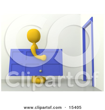 Yellow Figure Carrying A Blue Door Towards A Door Frame, Symbolizing Moving Or Home Repairs  Posters, Art Prints