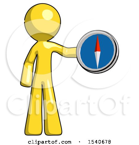 Yellow Design Mascot Man Holding a Large Compass by Leo Blanchette