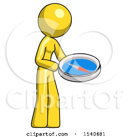 Yellow Design Mascot Woman Looking at Large Compass Facing Right by Leo Blanchette