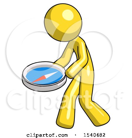 Yellow Design Mascot Man Walking with Large Compass by Leo Blanchette