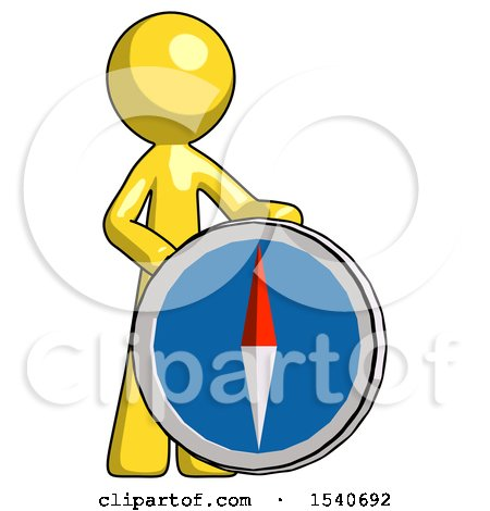Yellow Design Mascot Man Standing Beside Large Compass by Leo Blanchette