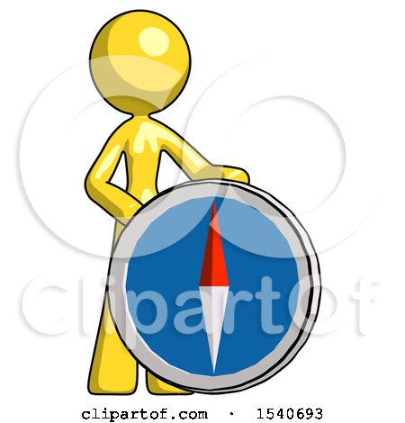 Yellow Design Mascot Woman Standing Beside Large Compass by Leo Blanchette