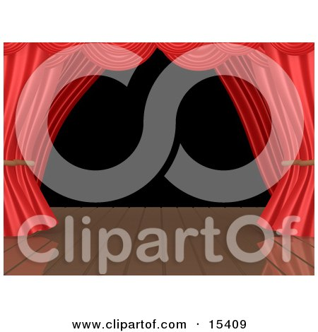 Red Theatre Curtains Framing A Blank Black Background On An Empty Wooden Stage Clipart Illustration Image by 3poD