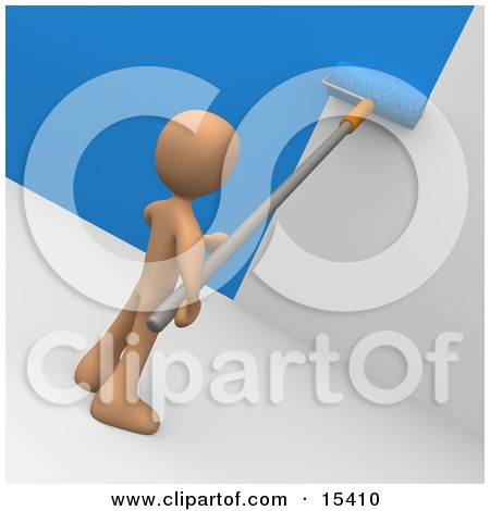 Person Using A Roller To Apply Blue Paint To A White Wall Clipart Illustration Image by 3poD