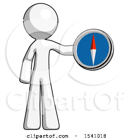 White Design Mascot Man Holding a Large Compass by Leo Blanchette