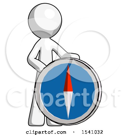 White Design Mascot Man Standing Beside Large Compass by Leo Blanchette