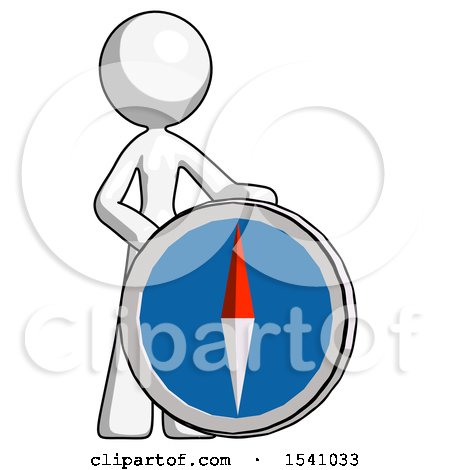White Design Mascot Woman Standing Beside Large Compass by Leo Blanchette