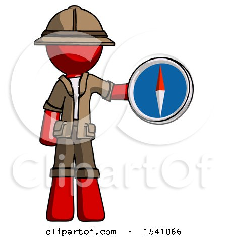 Red Explorer Ranger Man Holding a Large Compass by Leo Blanchette