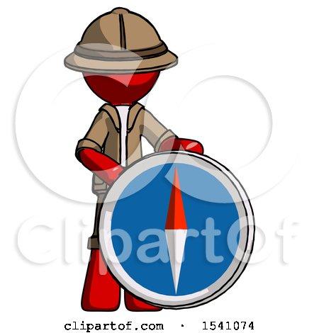 Red Explorer Ranger Man Standing Beside Large Compass by Leo Blanchette