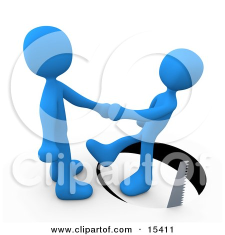 Unsuspecting Blue Man Shaking Hands On A Deal With Another Man As A Saw Cuts A Circle Out From Under Him and He Slips Clipart Illustration Image by 3poD