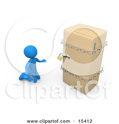 Desperate Blue Person On A Restricted Diet, Kneeling And Begging In Front Of A Refrigerator That Is Chained And Locked Clipart Illustration Image by 3poD