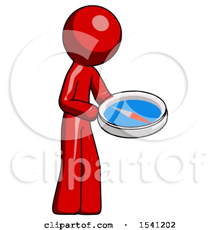 Red Design Mascot Man Looking at Large Compass Facing Right by Leo Blanchette