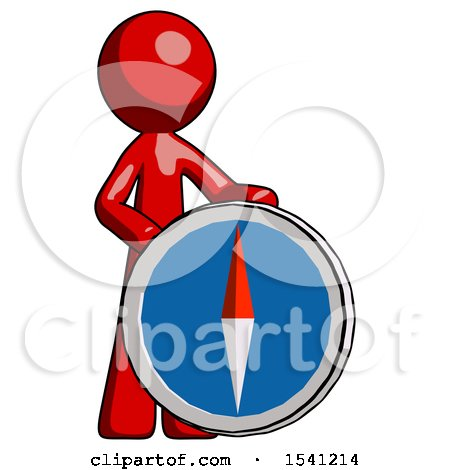 Red Design Mascot Man Standing Beside Large Compass by Leo Blanchette