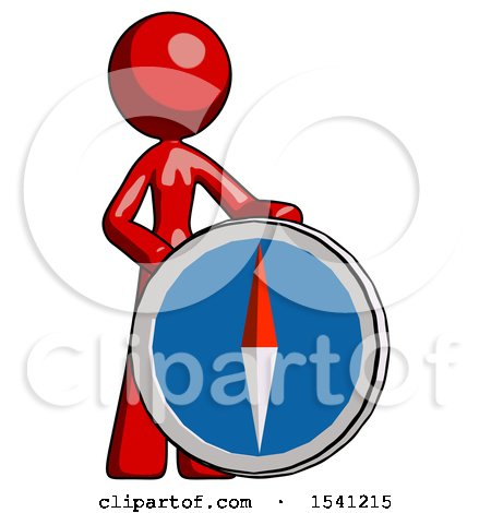 Red Design Mascot Woman Standing Beside Large Compass by Leo Blanchette