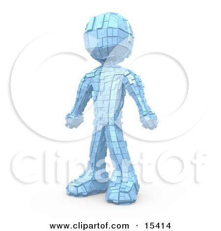 Metallic Robot Standing Clipart Illustration Image by 3poD