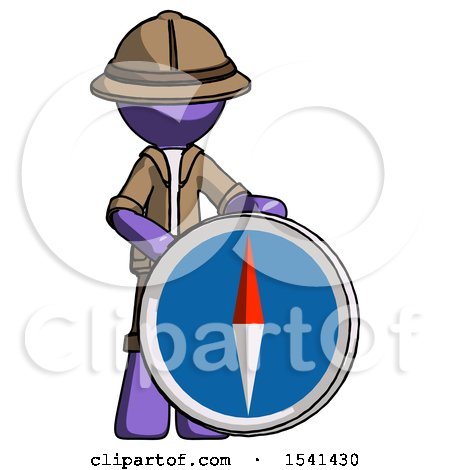 Purple Explorer Ranger Man Standing Beside Large Compass by Leo Blanchette