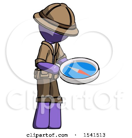 Purple Explorer Ranger Man Looking at Large Compass Facing Right by Leo Blanchette