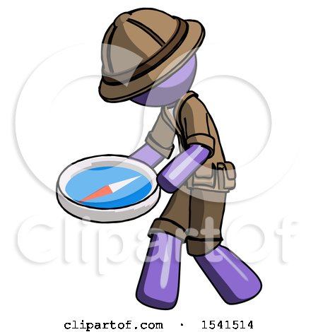 Purple Explorer Ranger Man Walking with Large Compass by Leo Blanchette