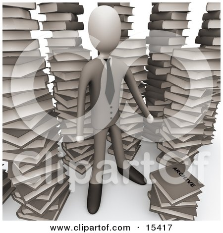 Businessman Doing Research In A Library Full Of An Unorganized Mess Of Stacked Books Clipart Illustration Image by 3poD